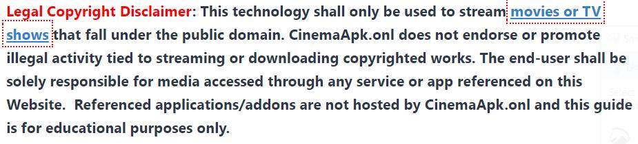 Cinemaapk legal